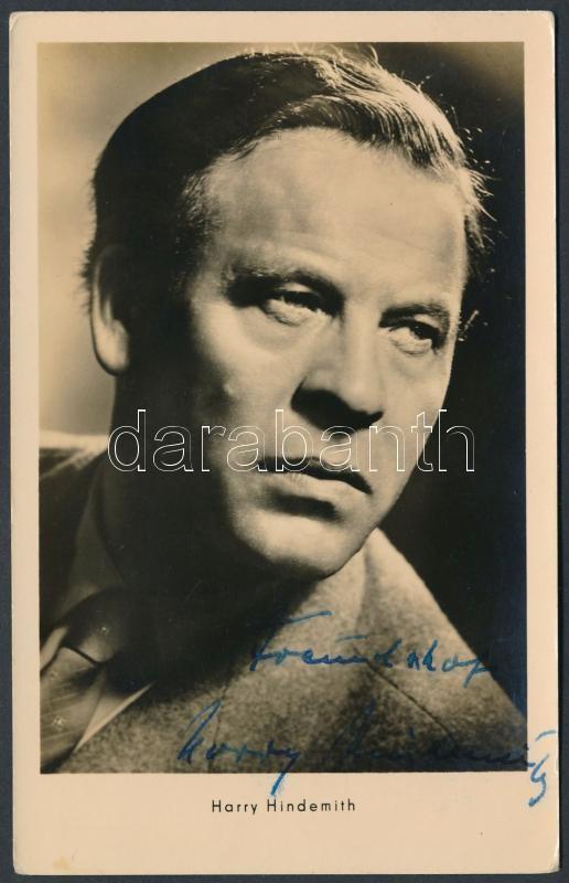 Harry Hindemith (1906-1973) német színész aláírása fotólapon / Autograph signature of German actor