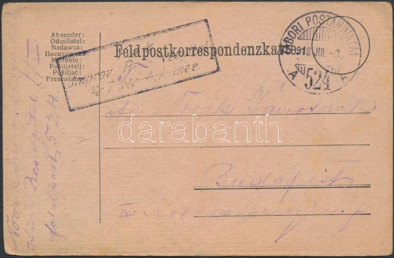 "Tábori posta levelezőlap ""K.u.k. Jmorov (Reservespital)"" + ""TP 524 A"", Austria-Hungary field postcard"