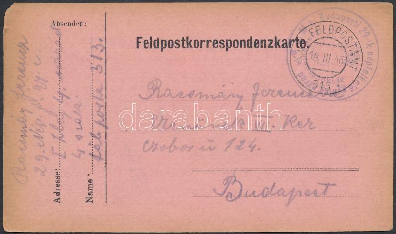 """Austria-Hungary Field postcard, Tábori posta levelezőlap """"M.k. Budapesti 29-ik népfölkelő gyalog ezred"""" + """"FP 313"""""""
