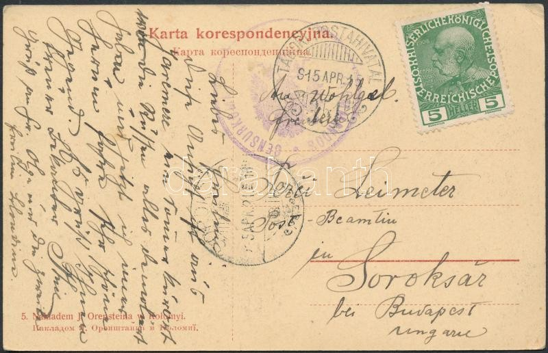 "Austria-Hungary Field postcard ""CENSURKOMM..."" + ""TP 351"", 5h tábori posta képeslapon ""CENSURKOMM..."" + ""TP 351"""