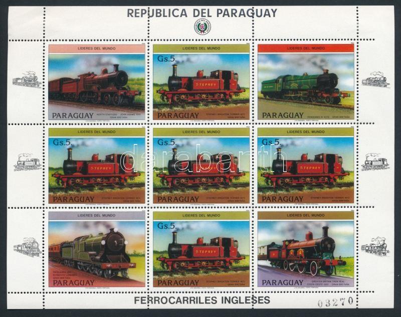 English locomotives coupon minisheet, Angol mozdonyok szelvényes kisív