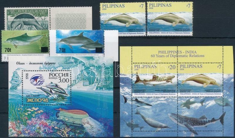 1962-2009 Sea animals 1 set + 2 blocks + 3 stamps, 1962-2009 Tengeri állatok motívum 1 db sor + 2 db blokk + 3 db önálló érték
