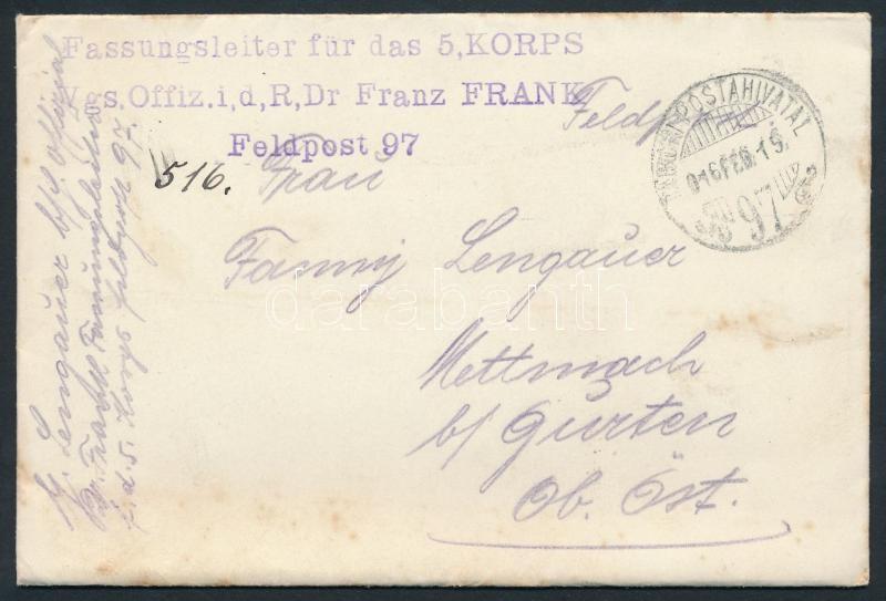 "Austria-Hungary Field cover, Tábori posta levél ""Fassungsleiter für das 5 KORPS Vgs. Offiz. i,d,R,Dr Franz FRANK"" + ""TP 97"""