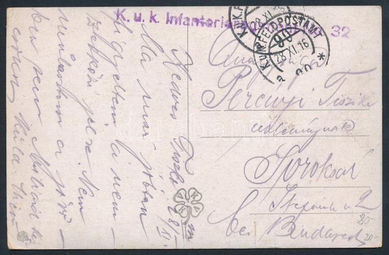 "Austria-Hungary Field postcard, Tábori posta képeslap ""K.u.k. Infanterieregiment No.32"" + ""FP 90 a"""