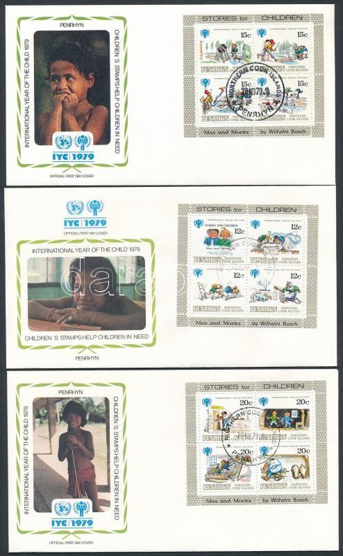 International children year block set 3 diff FDC, Nemzetközi gyermekév blokksor 3 klf FDC