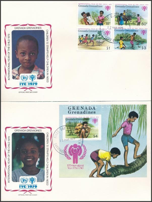 International Children's Year set + block on 2 FDC, Nemzetközi Gyermekév sor + blokk 2 db FDC-n