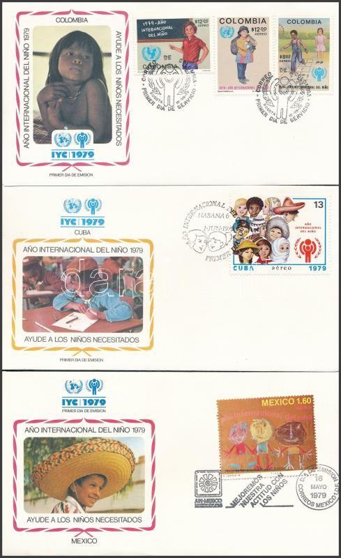 International Children's Year 5 FDC, Nemzetközi Gyermekév motívum 5 klf FDC