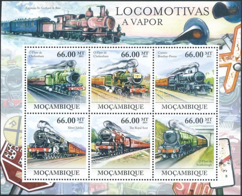 Locomotives mini sheet, Gőzmozdonyok kisív