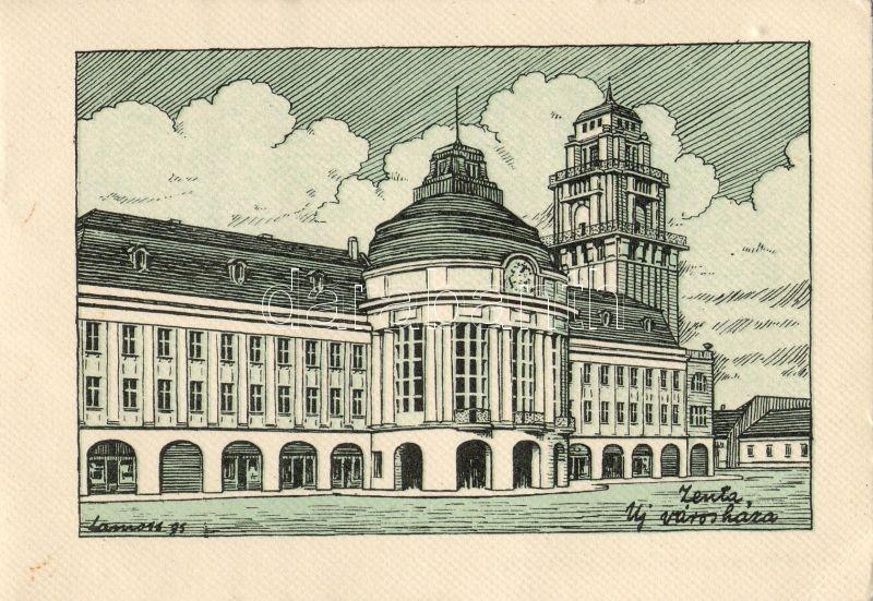 Senta, New town hall s: Lamoss, Zenta, Új városháza 'Délvidéki Egyetemi és Főiskolai Hallgatók Egyesülete' s: Lamoss