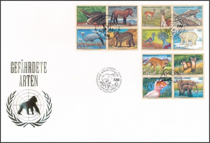 UN Vienna, Geneva, New York Endangered animals (5) 3 diff blocks of four on FDC, ENSZ Bécs, Genf, New York Veszélyeztetett állatok (V) 3 klf négyestömb FDC-n