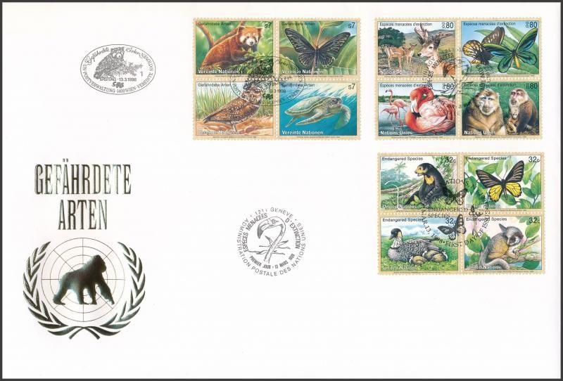 UN Vienna, Geneva, New York Endangered animals (6) 3 diff blocks of four on FDC, ENSZ Bécs, Genf, New York Veszélyeztetett állatok (VI) 3 klf négyestömb FDC-n