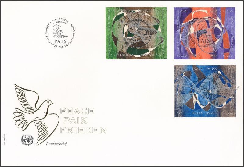 UN Vienna, Geneva, New York World Day of Peace 3 diff blocks of four on FDC, ENSZ Bécs, Genf, New York A Béke Világnapja 3 klf négyestömb FDC-n