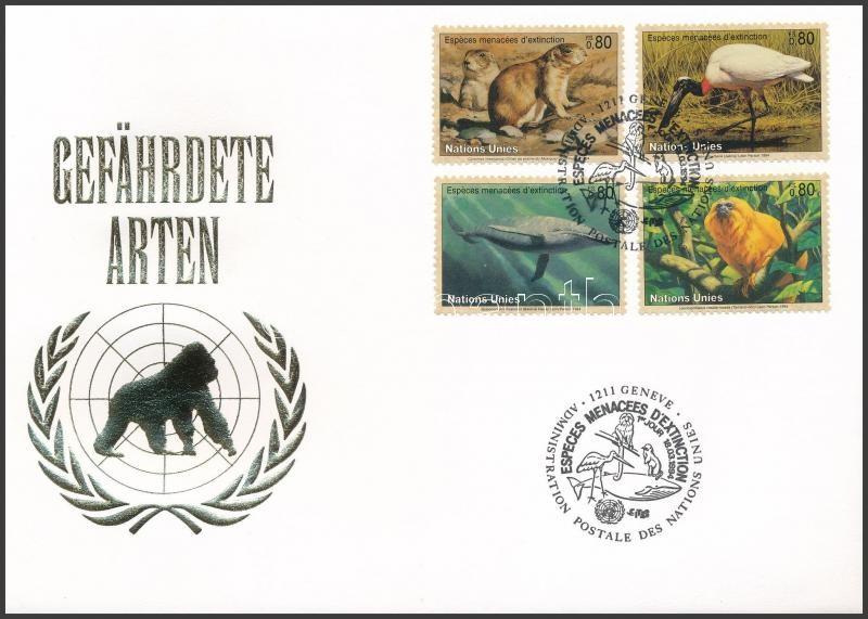 Endangered animals (II) set on FDC, Veszélyeztetett állatok (II) sor FDC-n