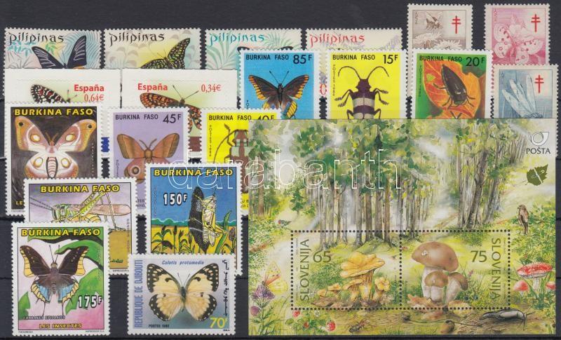 Butterfly, insect 19 stamps and 1 block, Lepke, rovar motívum 19 klf bélyeg és 1 blokk