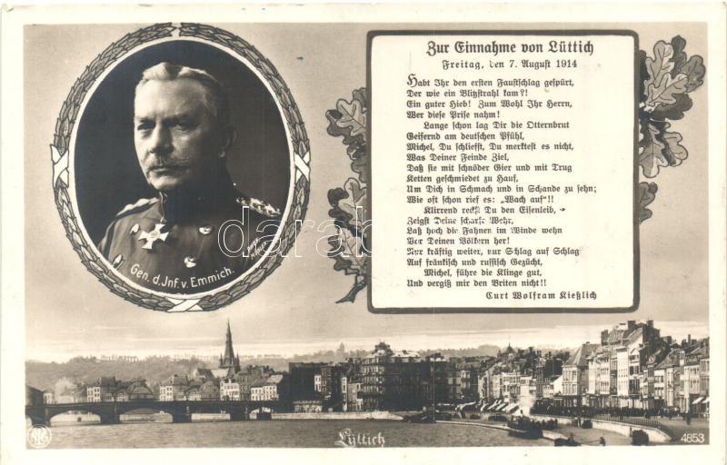 Liege, Lüttich; Memorial card for the battle of Liege, Otto von Emmich, Liege, Lüttich; A liege-i csata emléklapja, Otto von Emmich gyalogsági tábornok