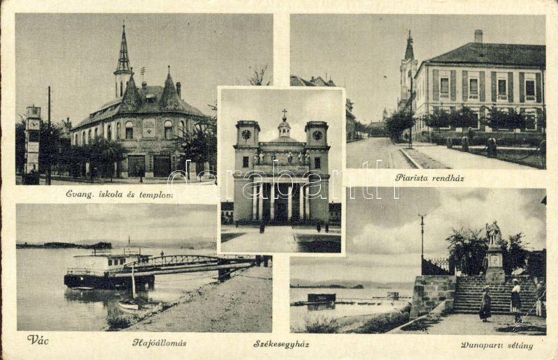 Vác, hajóállomás, Evangélikus iskola és templom, Piarista rendház
