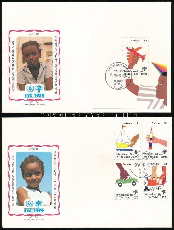 International Children Year set + block 2 FDC, Nemzetközi Gyermekév sor + blokk 2 db FDC-n