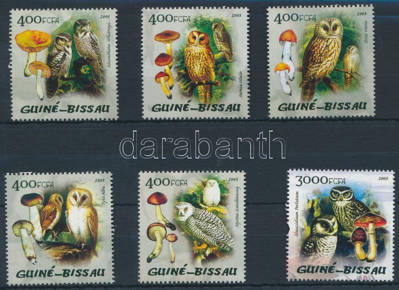 Mushrooms and Owls 5 stamps, Gombák és baglyok sor 5 értéke (hiányzik/missing Mi 2893)