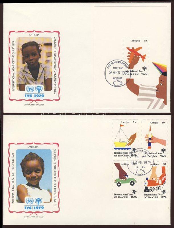International Year of the Child set + block 2 FDC, Nemzetközi gyermekév sor + blokk 2 FDC, Internationales Jahr des Kindes Satz + Block 2 FDC