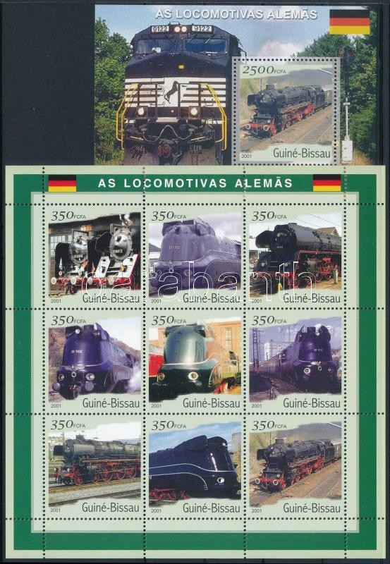 German trains minisheet + block, Német vonatok kisív + blokk
