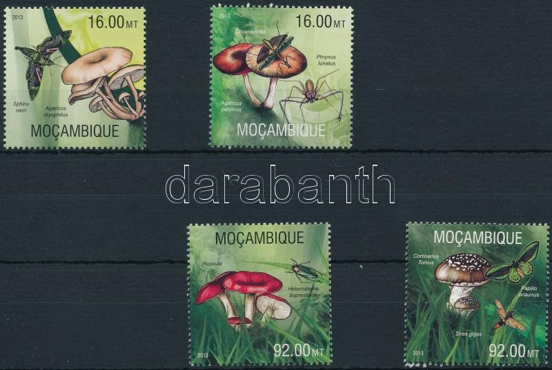 Mushrooms, insects set, Gomba, ízeltlábúak sor