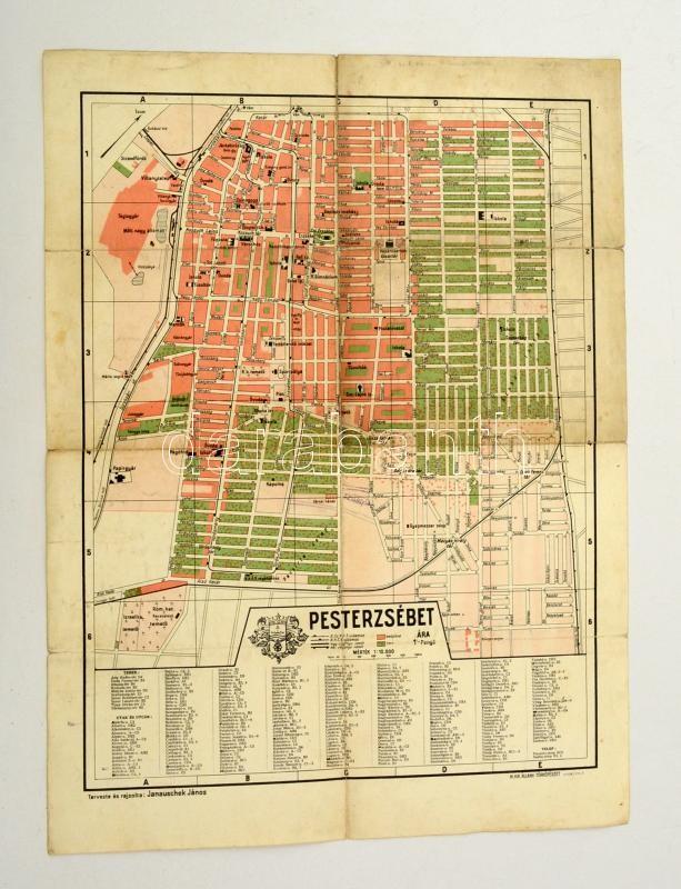 budapest térkép pesterzsébet 1930 Budapest, Pesterzsébet térkép, tervezte és rajzolta  budapest térkép pesterzsébet