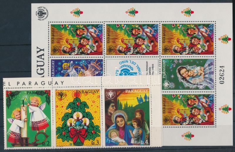 Christmas set corner stripe of 6 + mini sheet, Karácsony sor ívsarki hatoscsíkban + kisívben