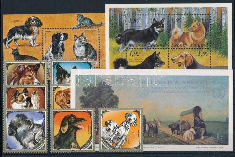 Dogs 12 diff stamps + 1 minisheet + 4 blocks, Kutya motívum tétel 12 klf bélyeg, 4 blokk és 1 kisív 2 stecklapon
