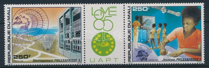 Stamp Exhibition - UPU coupon stripe of 3, Bélyegkiállítás - UPU szelvényes hármascsík