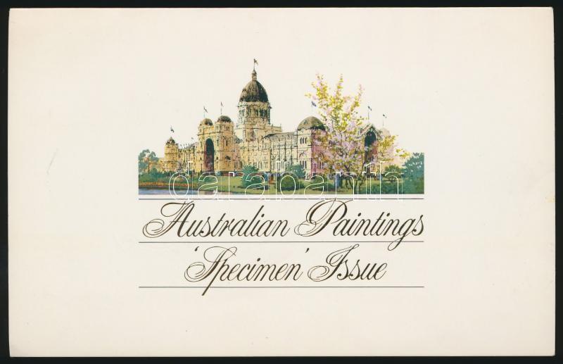 1977-1981 3 klf Festmény MINTA bélyeg az 1984-es Ausztráliai Festmény Bélyeg Bélyegkiállítás kiadványában, 1977-1981 Paintings 3 diff SAMPLE stamps
