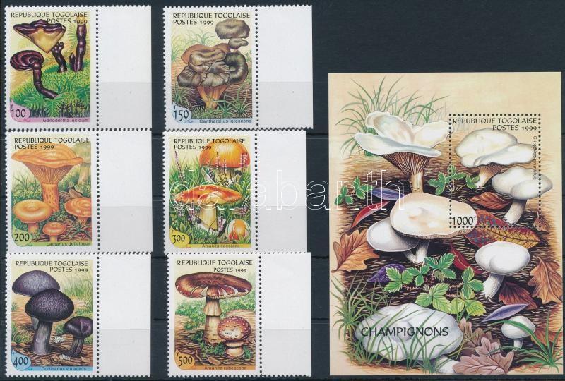Mushrooms margin set + block, Gomba ívszéli sor + blokk