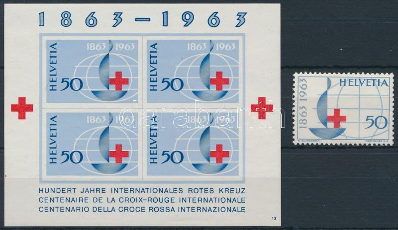 Red Cross perforated stamp + block, Vöröskereszt fogazott bélyeg + blokk
