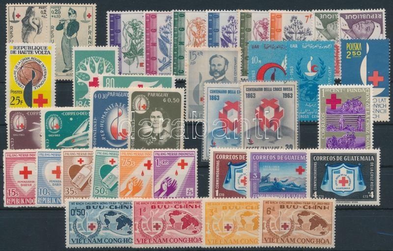 Red Cross 37 stamps, Vöröskereszt motívum 37 klf bélyeg, közte sorok
