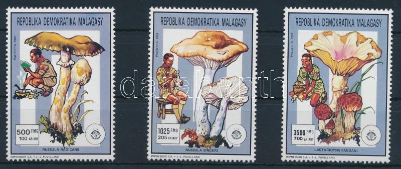 Mushrooms 3 stamps Gomba sor 3 értéke