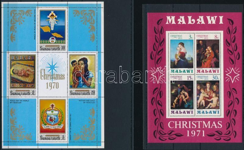 1970-1995 Christmas 6 blocks + 1 stamp, 1970-1995 Karácsony motívum 6 klf blokk + 1 db önálló érték 4 db stecklapon