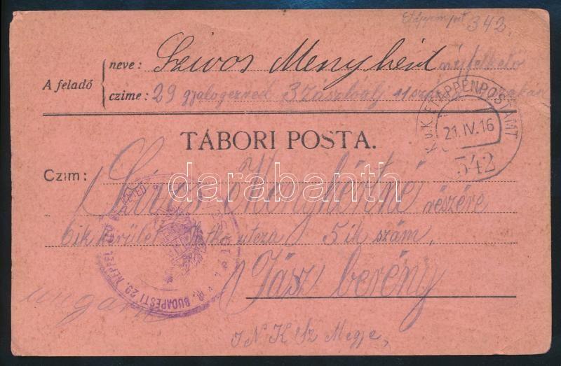 """Austria-Hungary Field Postcard, Tábori posta levelezőlap """"BUDAPESTI 29. NÉPFELKELŐ GY. EZRED"""" + """"EP 342"""""""