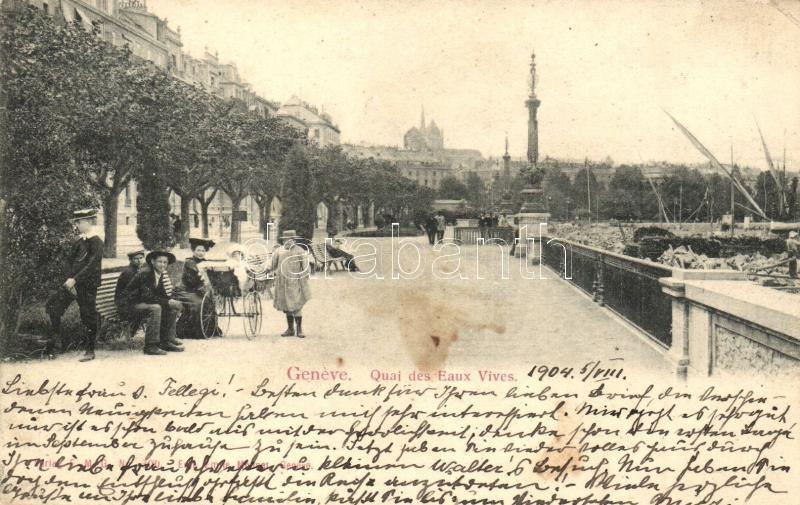 Geneva, Geneve; Quai des Eaux Vives / quay
