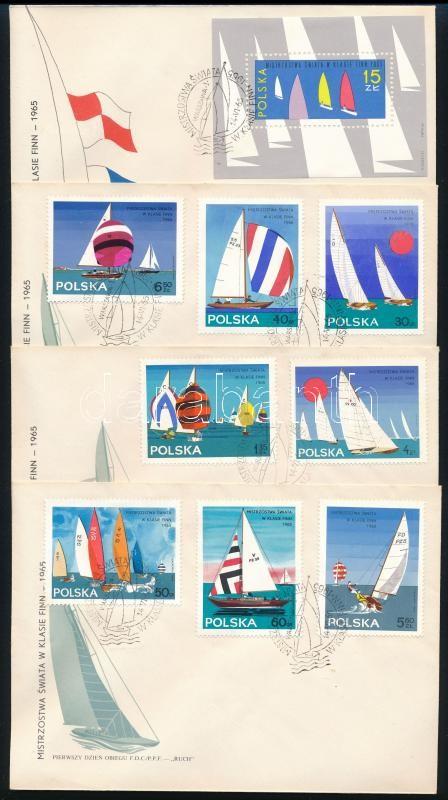 Sailing World Cup set + block on 4 FDC, Vitorlás VB. sor + blokk 4 db FDC-n
