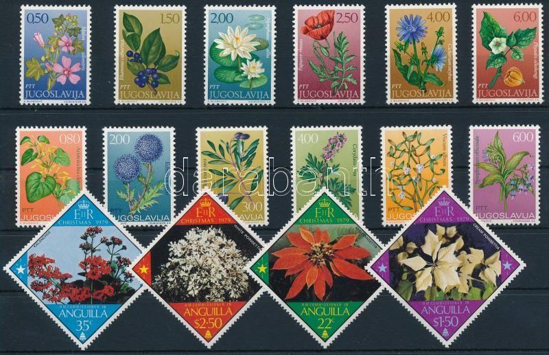 1971-1991 Flower 6 sets, 1971-1991 Virág motívum 6 klf sor 2 db stecklapon