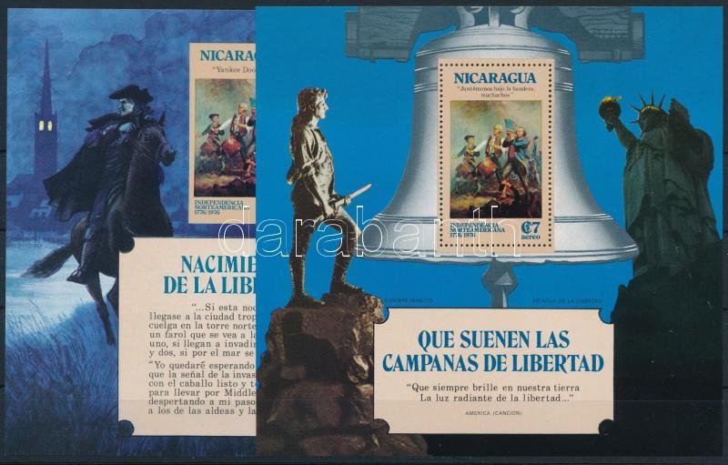 200th anniversary of the US independence perforated + imperforated block with overprint on the back, Az USA függetlenségének 200. évfordulója fogazott + vágott blokk hátoldalukon felirattal