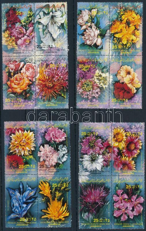 Flowers set blocks of 4, Virágok sor négyes tömbökben