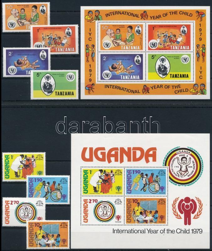 International Year of Children 8 sets + 3 blocks, Nemzetközi Gyermekév 8 klf sor + 3 db blokk 5 db stecklapon