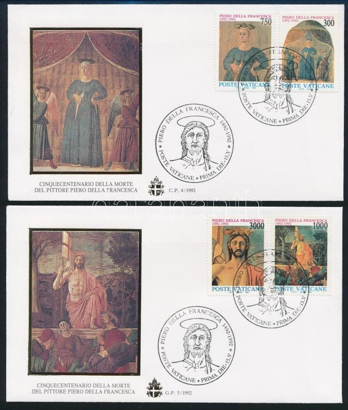 Piero della Francesca, paintings set 2 FDC, Piero della Francesca, festmények sor 2 db FDC-n