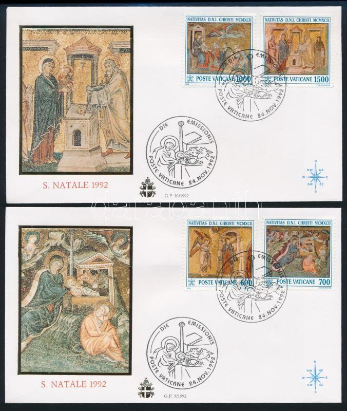 Christmas, mosaics set 2 FDCs, Karácsony, Mozaikok sor 2 db FDC-n