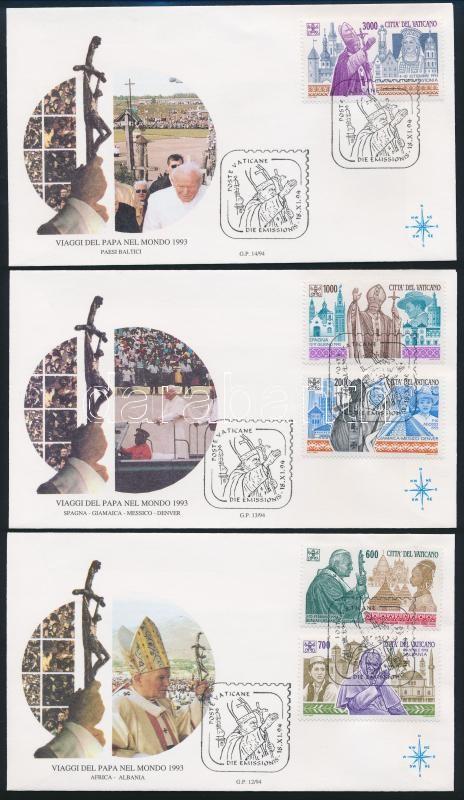 Pope John Paul II.'s travels set 3 FDCs, II János Pál pápa utazásai sor 3 db FDC-n