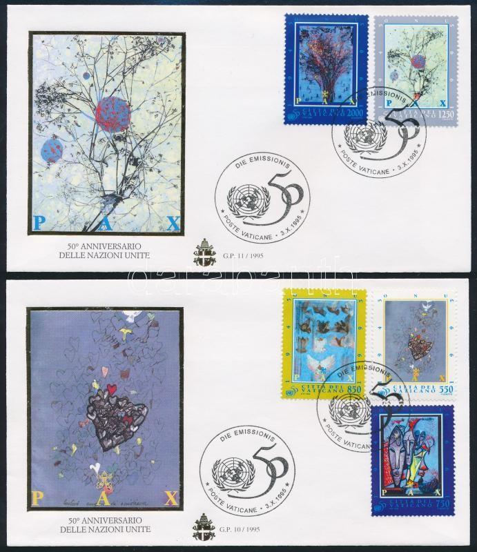 UN; Modern paintings set 2 FDCs, 50 éves az ENSZ; Modern festmények sor 2 db FDC-n