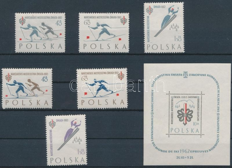 Winter Olympics, Zakopane (I-II.) set + block, Téli Olimpia, Zakopane (I-II.) sor + blokk