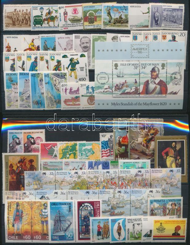 Uniforms 5 sets + 32 stamps + 2 stripes of 5 + 1 block + 2 pairs, Egyenruha motívum 5 klf sor + 32 klf önálló érték + 2 klf ötöscsík + 1 blokk + 2 klf pár 2 db stecklapon
