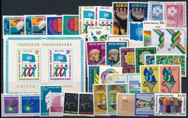 UN New York 1975-1978 49 stamps + 1 block, ENSZ - New York 1975-1978 szinte teljes évfolyamok 49 klf bélyeg + 1 blokk