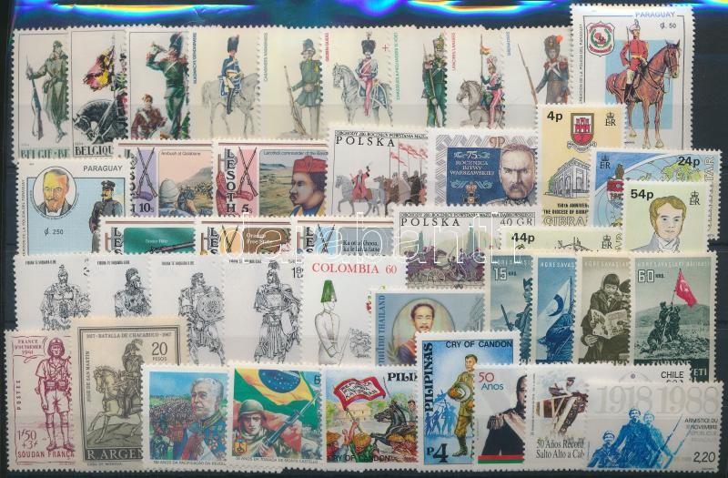 Uniform 10 set + 10 stamp, Egyenruha motívum 10 klf sor + 10 klf önálló érték